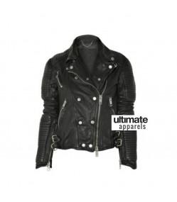 Sienna Miller Burberry Black Biker Leather Jacket