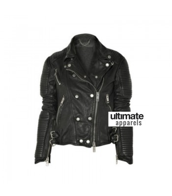 Sienna Miller Burberry Black Biker Leather Jacket