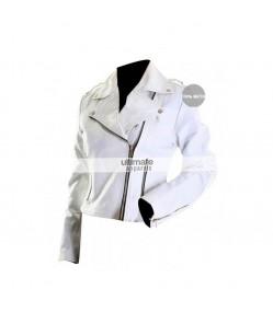 Women's White Motorcycle Leather Jacket