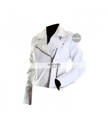 Women's White Motorcycle Leather Jacket