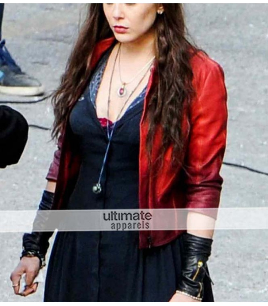 Avengers Age of Ultron Scarlet Witch Red Leather Jacket