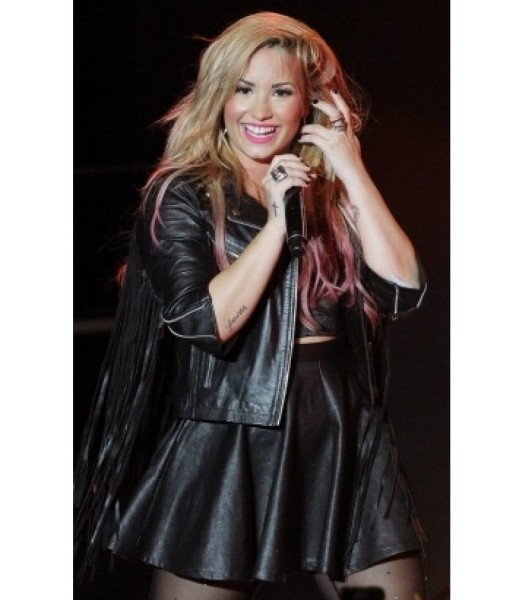Demi Lovato Fringe Black Biker Moto Leather Jacket