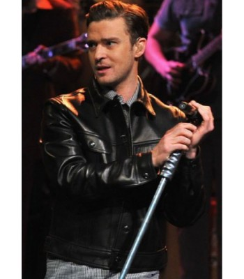 Justin Timberlake Black Leather Jacket