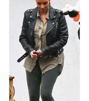 Kim Kardashian Blk Dnm Leather Jacket