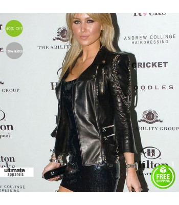 Alex Curran Hilton Liverpool Launch Party Black Biker Jacket