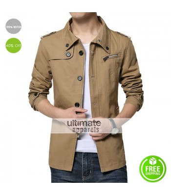 Business Style Classic Khaki Winter Military Coat