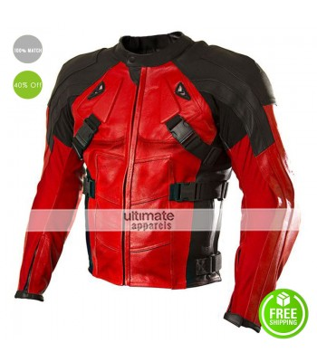 Deadpool Motorcycle Track Leather Cosplay Costume Jacket