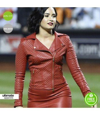 Hot Demi Lovato World Series Red Leather Jacket
