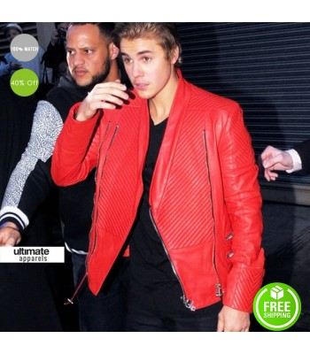 Justin Bieber Micheal Jackson Inspired Red Jacket