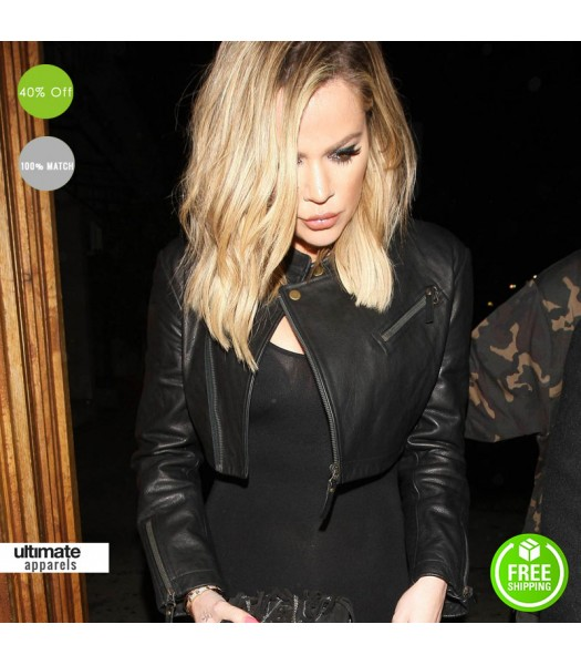 d2fc9f639f3 Khloe Kardashian Short Body Black Stylish Biker Jacket. $168.00