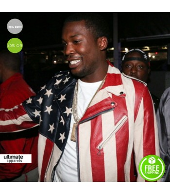 Meek Mill Perfecto American Flag Biker Jacket