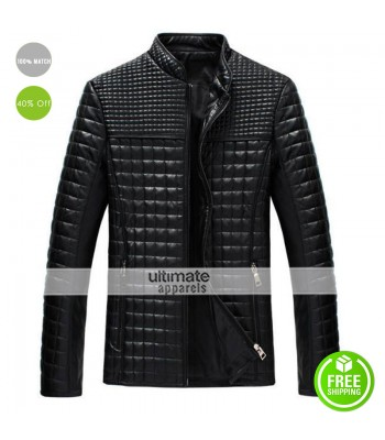 New Men's Fashion Slim Collar Grid Black/Brown Jacket Coat
