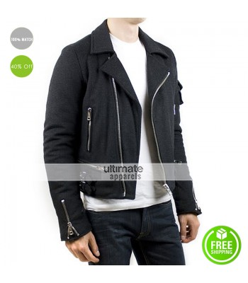 New Men's Raf Simons Wool Grey Biker Jacket