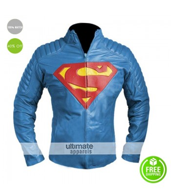 New Superman Logo Blue Collar Slim Fit Leather Jacket