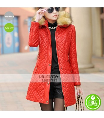 New Women Parka Fur Collar Quilted Red Coat Outwear
