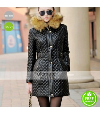 New Women Parka Fur Collar Winter Quilted Black Coat