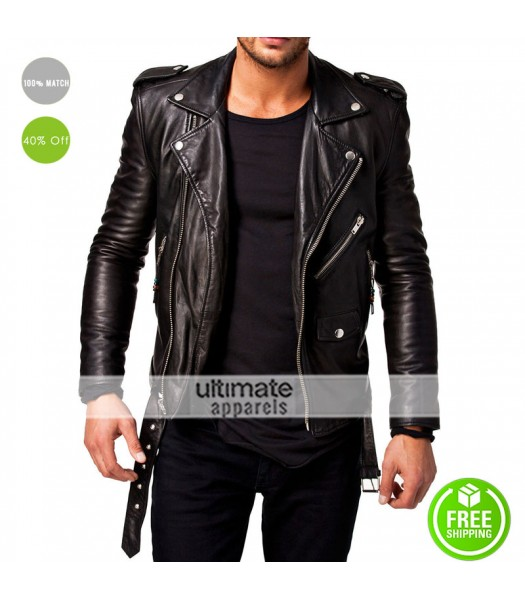 Yunqiaa Black Slim Fit Biker Genuine Lambskin Jacket