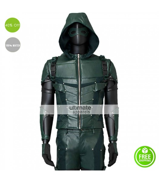 Arrow Season 4 Stephen Amell Costume Leather Jacket