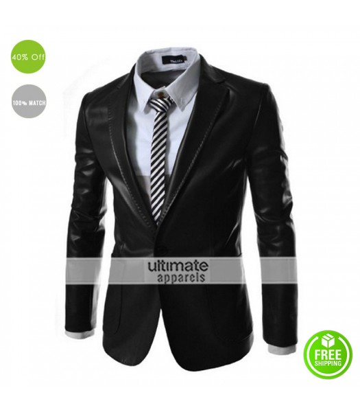Autum Winter Formal Jacqueta De Couro Masculina Blazer