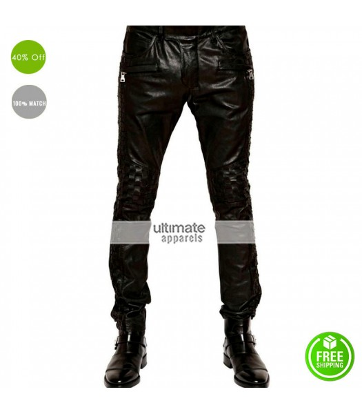Balmain Woven Black Leather Pant For Men