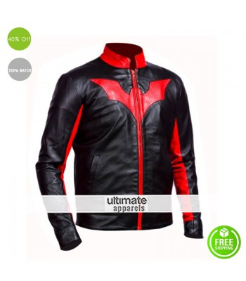 Batman Beyond Bruce Wayne Biker Red Contrast Jacket