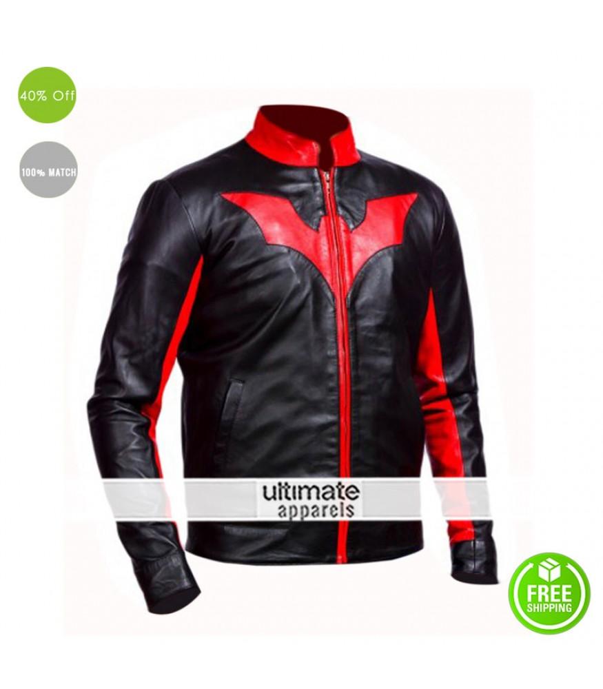 Batman Beyond Bruce Wayne Biker Red Contrast Jacket