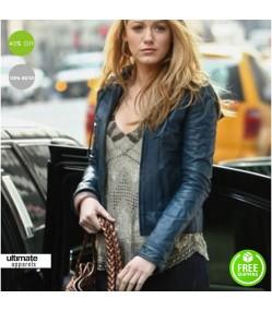 Blake Lively Blue Slimfit Leather Jacket