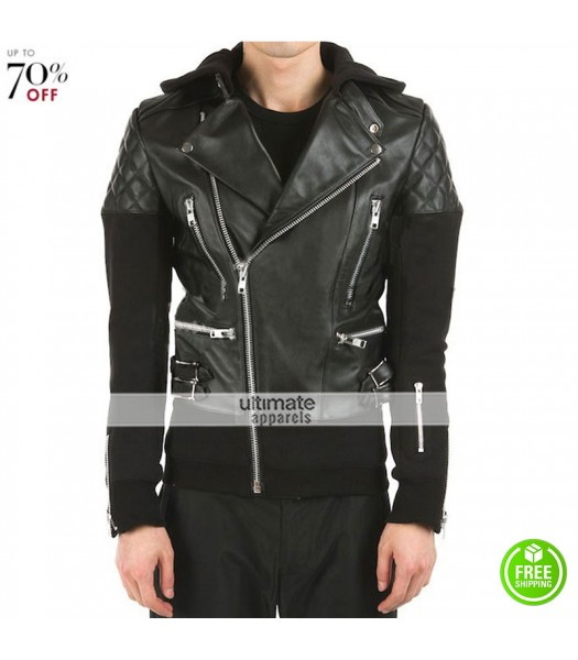 Brando Black Hooded Justin Bieber Leather Jacket