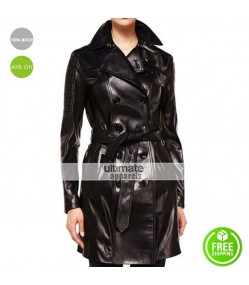 Burberry London Double Breasted Black Leather Trench Coat