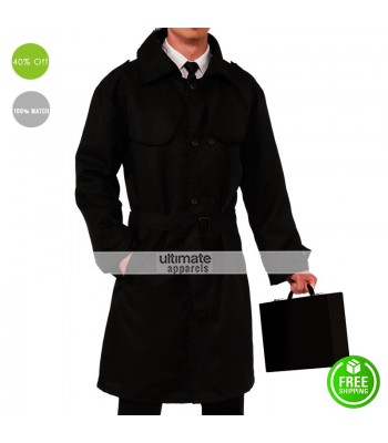 Detective Mens Agent Spy Black Trench Coat Costume