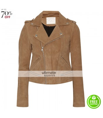 Eleanor Calder Brown Suede Biker Women Jacket
