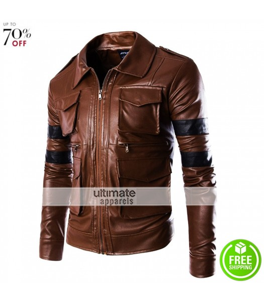 Four Pocket Chocolate Brown Jacket With Stripes