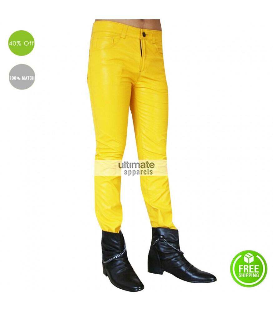 Freddie Mercury Stylish Yellow Leather Pant