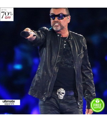George Michael Black Leather Jacket For Men
