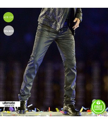 George Michael Black Men Leather Pants