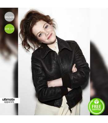 Georgie Henley Stylish Black/Brown Bomber Jacket