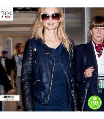 Heather Graham Blue Leather Jacket At La Airport