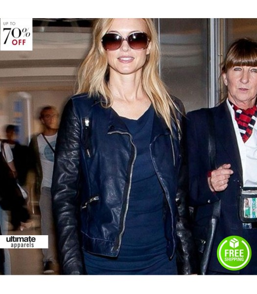 Heather Graham Blue Leather Jacket At La Airport