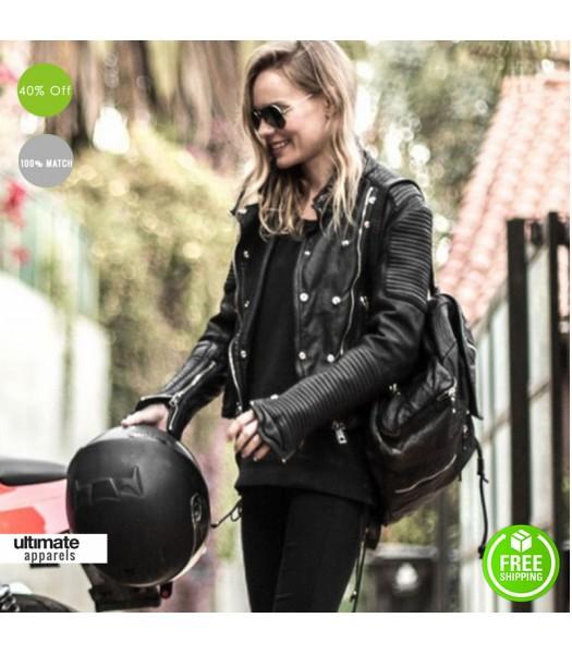 Kate Bosworth Burberry Black Biker Jacket