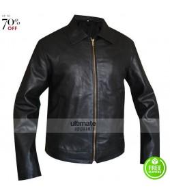 Men Black Casual Leather Jacket