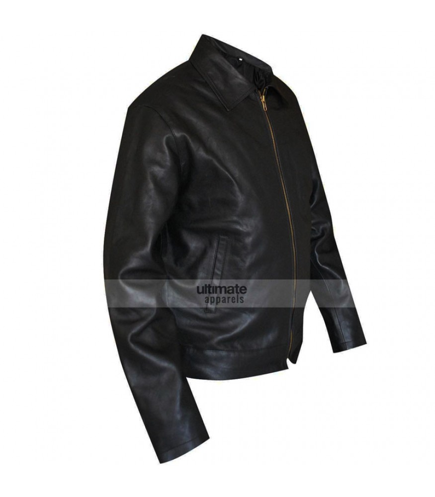 men black casual leather jacket