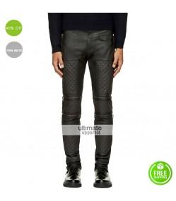 Men Dark Grey Leather Zip Panel Quilted Pants