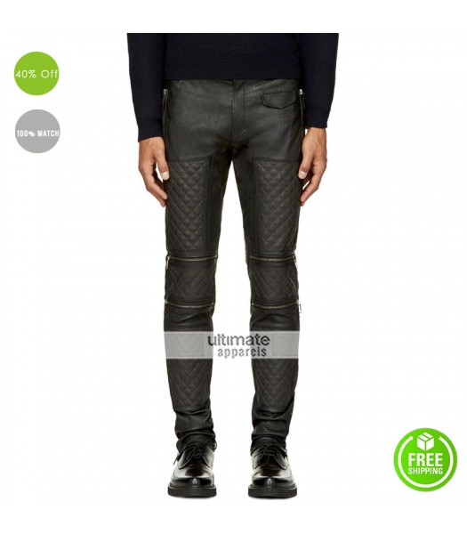Men Dark Grey Leather Zip Panel Quilted Pants