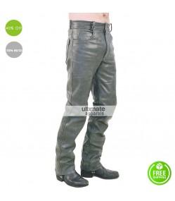 Men Plane Dull Grey Leather Pant