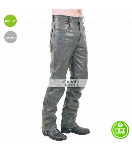 Men Plane Dull Grey Leather Pant