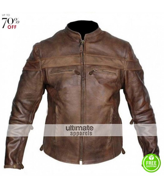 Mens Vintage Cafe Racer Leather Motorcycle Jacket