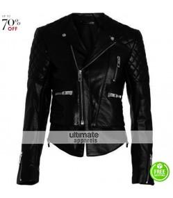 Miranda Kerr Balenciaga Black Quilted Motorcycle Jacket