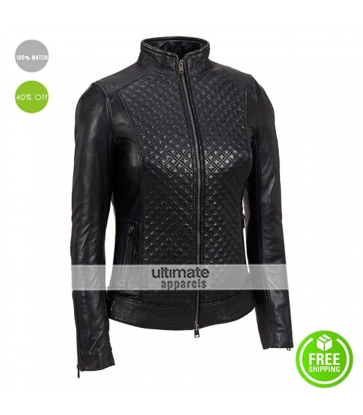 LaMarque Quilted Women Black Leather Biker Jacket