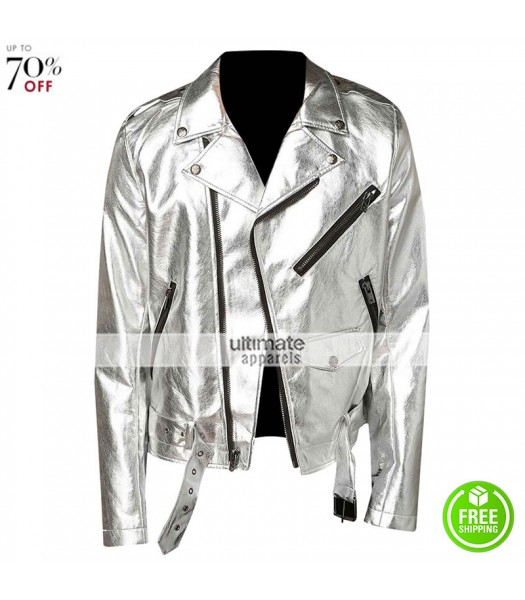 New Men Silver Shiny leather Jacket