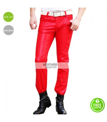 New Red Leather Pant For Men